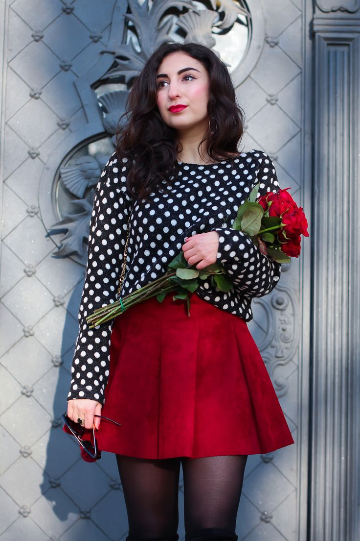 Valentines Day Outfit | Red Skater Skirt inspiration romantic date outfit valentinstag red skater skirt and dots modeblog berlin fashionblog samieze winterlook-2