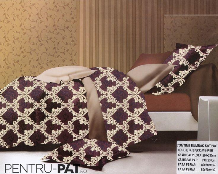 Lenjerie de pat bumbac dublu satinat Pucioasa visiniu cu model floral crem