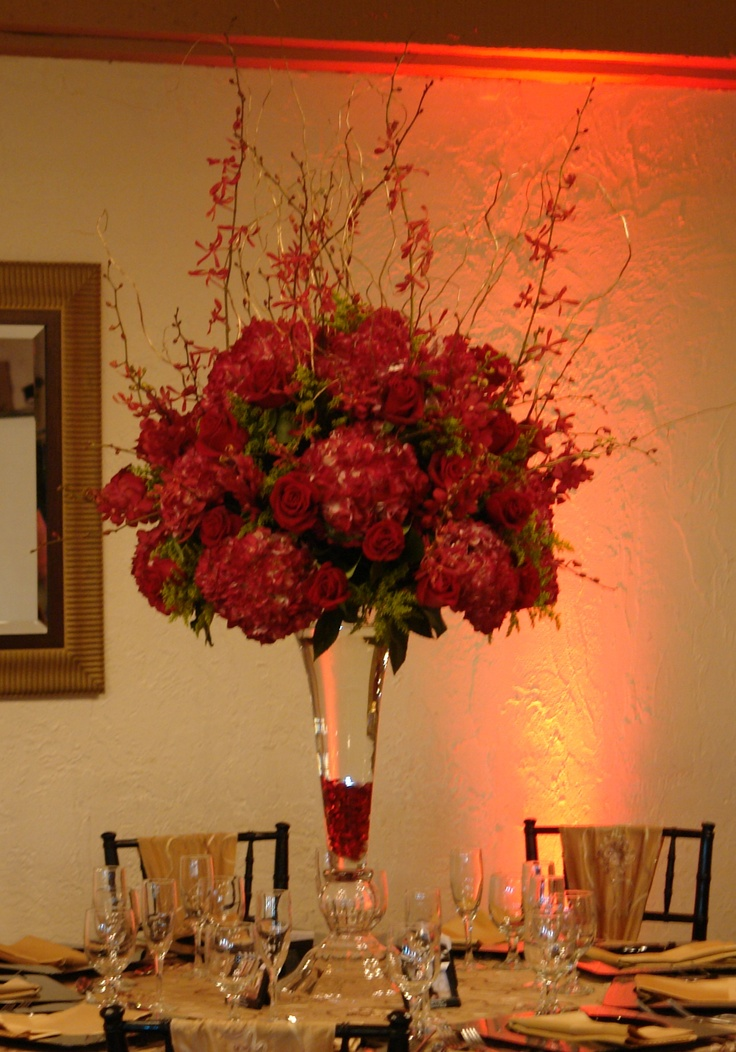 Red hydrangea reception wedding flowers decor