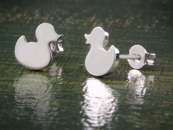 Duck Earrings Silver Studs Animal Earrings Cute by Wavejewels