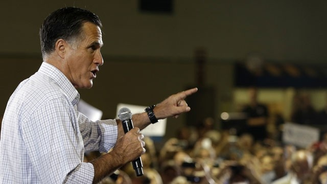 #52 9/20/12 Republican presidential candidate and former Massachusetts Gov. Mitt Romney campaigns at a rally at Darwin Fuchs Pavilion in Miami, Wednesday, Sept. 19, 2012. (AP Photo/Charles Dharapak)