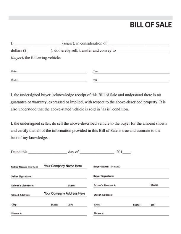 Standard Bill Of Sale Form Item 7833 Vehicle Bill