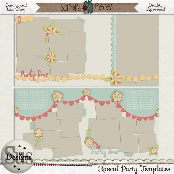 Rascal Party Templates #SusDesigns #DigiScrap #Scrapbook #ScrapsNPieces