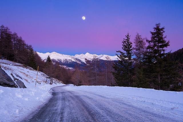 Icy road at dusk, La Thuile, Italy