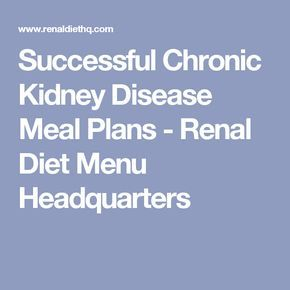 Successful Chronic Kidney Disease Meal Plans - Renal Diet Menu Headquarters
