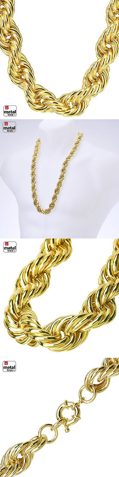 Chains Necklaces and Pendants 137839: Hip Hop Mens Rapper 14K Gold Plated Hollow Chunky Rope Chain Necklace 14 Mm 30 -> BUY IT NOW ONLY: $32.99 on eBay!