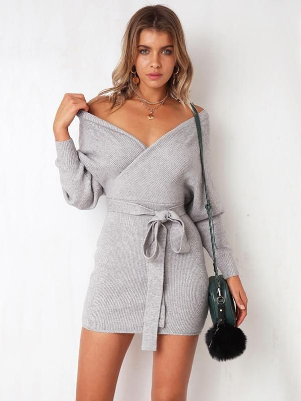 c173d4638a6 Women's Long Sleeve V-Neck Sweater Dress in 2019 | Products | Knit ...