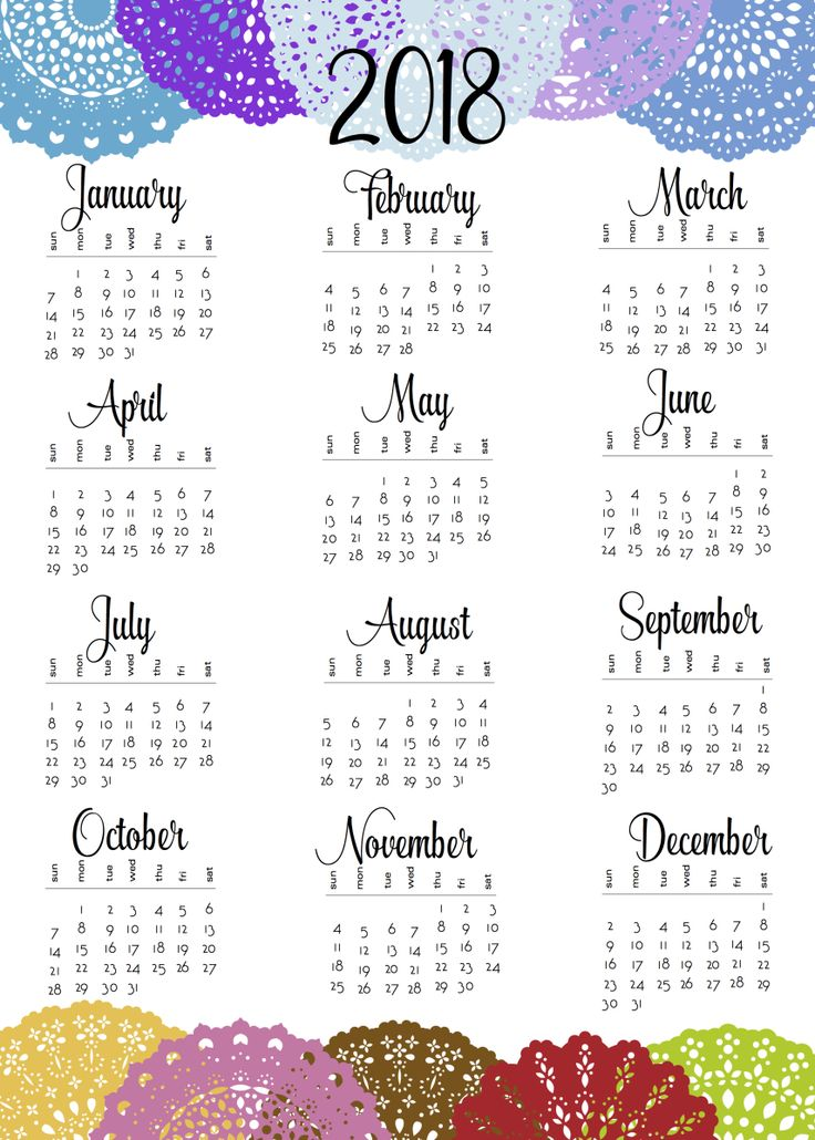 Free Printable 2018 and 2019 Year at a Glance Calendars