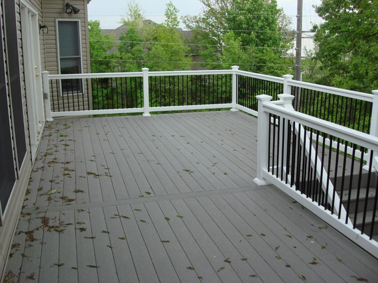 Composite deck gray with white composite decking deck for Composite deck railing