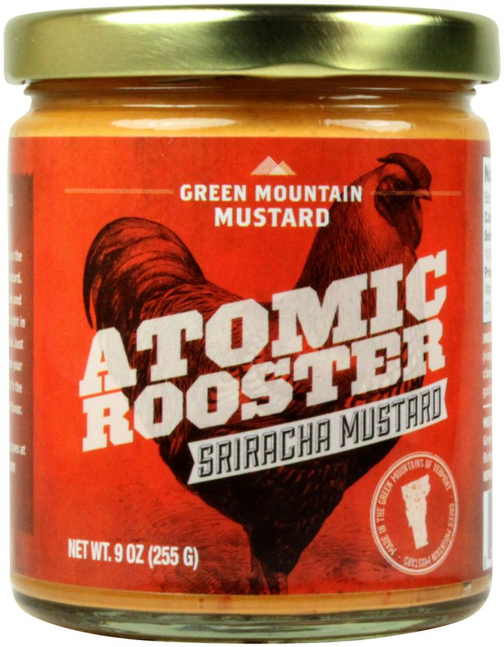 """Atomic Rooster"" Sriracha Mustard, made in Vermont by @vtmustard"