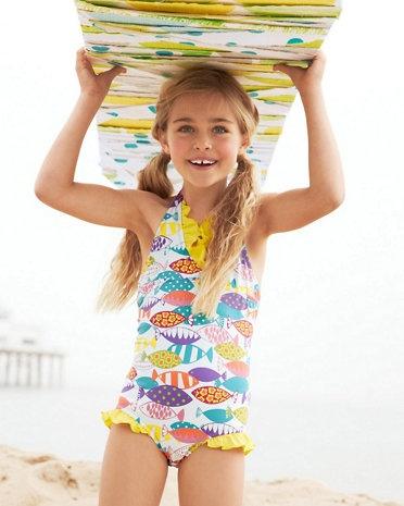 Ruffle Trimmed Halter One Piece Swimsuit Girls Kid