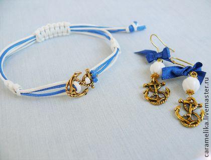 """Море, море.."" - тёмно-синий,якорь,браслет,серьги,море,подарок,подарок девушке"