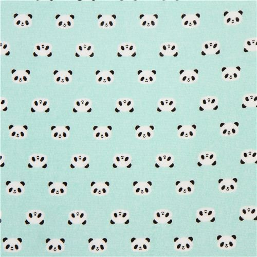 Turquoise panda bear fabric