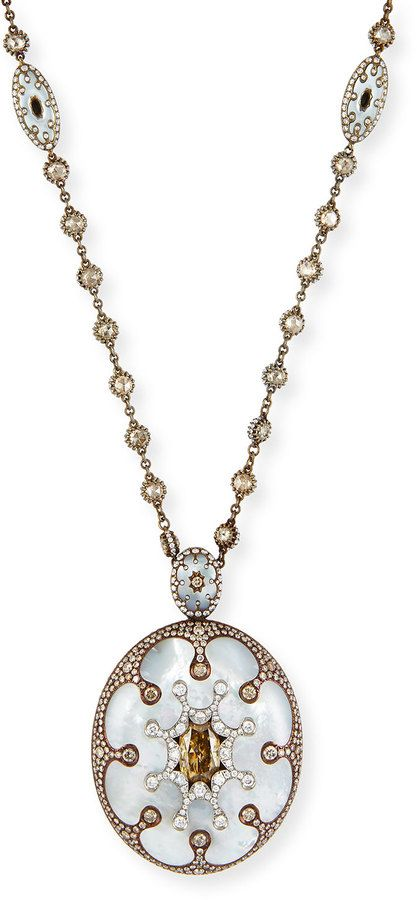 Arunashi Mother-of-Pearl Oval Pendant Necklace with Brown & White Diamonds