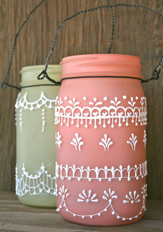 Set of 2 Hanging Mason Jar Lanterns, painted light frosty peach and yellow, Spring decorations via Etsy