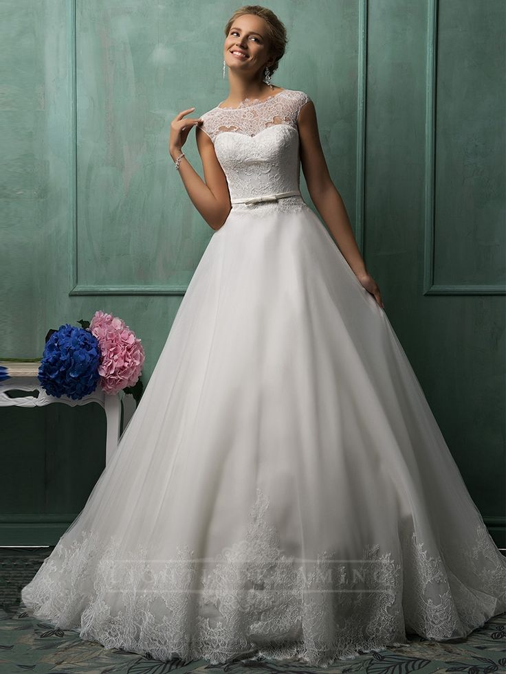 Cap Sleeves Illusion Neckline A-line Wedding Dresses