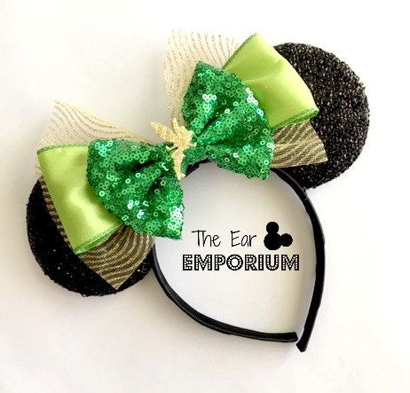 Peter Pan Tinkerbell Inspired Minnie/Mickey Mouse Ears Headband ~ Off to Neverland!