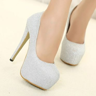 Fashion Round Closed Toe Flattery Stiletto High Heels Sliver Leather Pumps