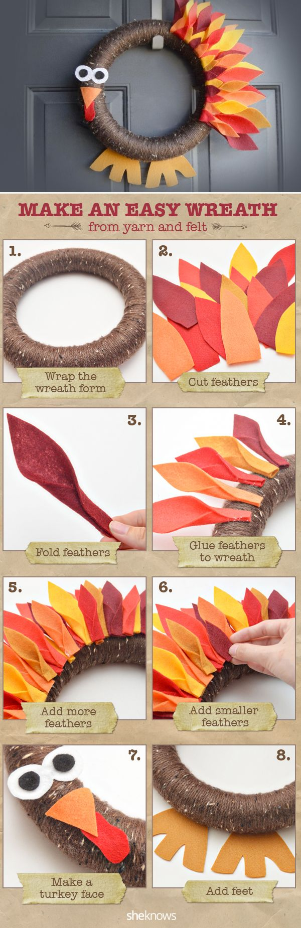 Easy Thanksgiving Turkey Wreath ~ an easy wreath made from yarn and felt