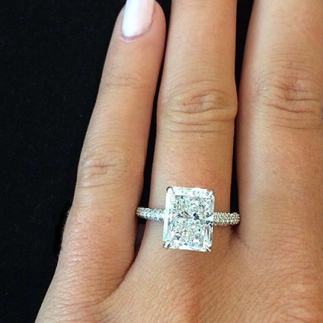 simply beautiful radiant cut engagement ring www - Emerald Cut Wedding Rings
