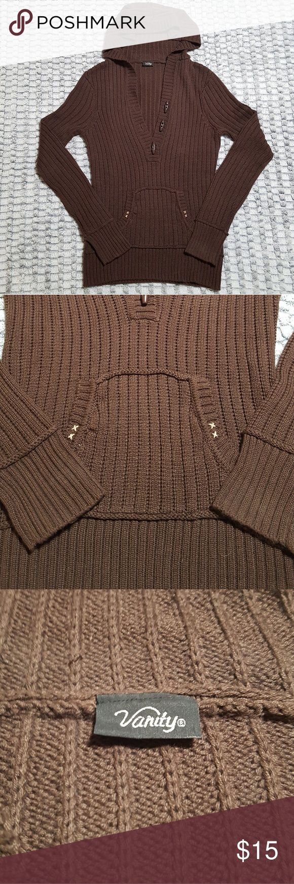 Vanity Hooded Sweater Vanity Hooded Sweater in Brown. Middle toggle button needs to be sewn back on. 55% Cotton 45% Acrylic. Price firm unless bundled. (See bundle discount) Vanity Sweaters V-Necks