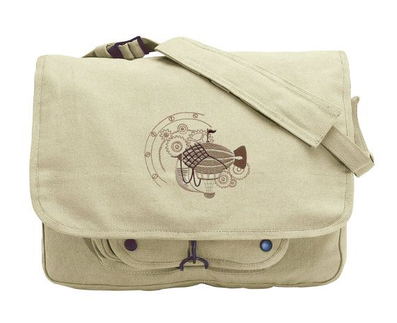 Dirigible Steampunk Embroidered Canvas Messenger Bag