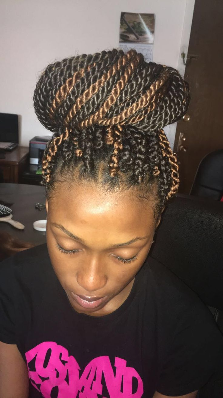Senegalese twists in a bun