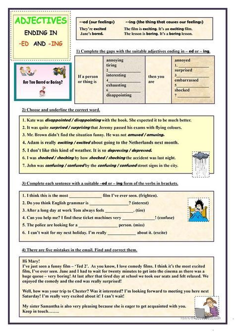 Adjectives ending in -ED and -ING (exercises)