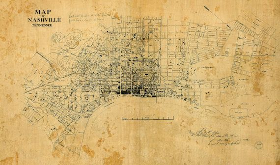 This is a Highly detailed Street map of Nashville Tennessee Circa 1860  Nashville was founded by James Robertson, John Donelson, and a party of