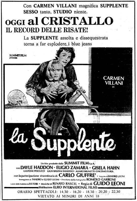 """""""La supplente"""" (1975) di Guido Leoni, con Carmen Villani e Eligio Zamara. Italian release: January 31, 1976 #MoviePosters"""
