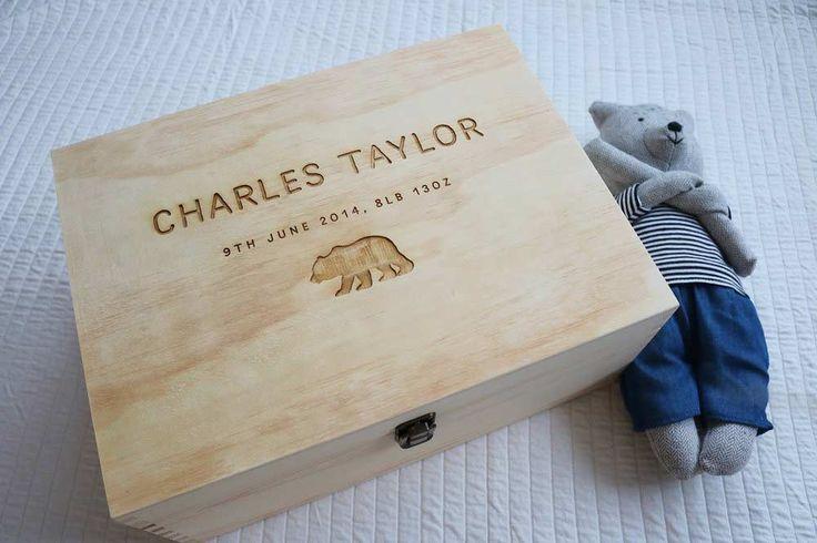 Personalised Wooden Baby Keepsake Gift Box - $70