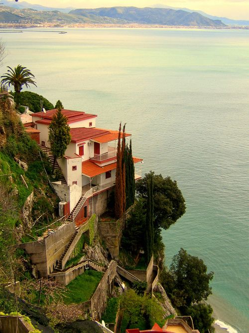 Seaside Villa, Amalfi Coast | Italy  The question is:  Is there another way to reach the Villa than by all those stairs???