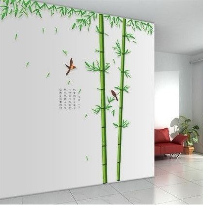 Большой размер бамбук птицы дерево DIY наклейки виниловые обои домашнего декора детей номеров наклейки 3D обои украшения adesivo де parede