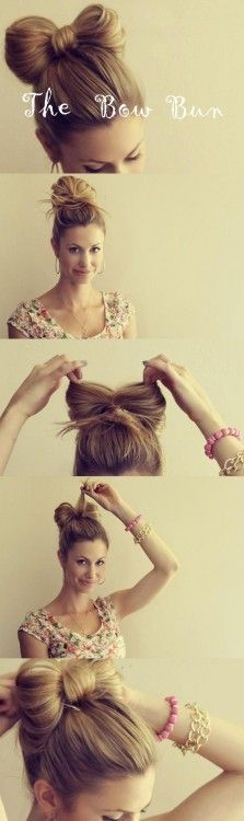 bow bun; i don't think I'll do this to myself, but definitely to my future daughter! @Mary Flanagan