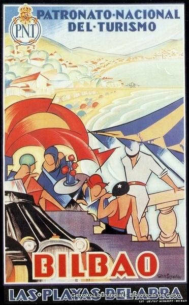 """""""Las playas del Abra"""". Cartel de Antonio de Guezala, por encargo del Patronato Nacional de Turismo (1929)"""