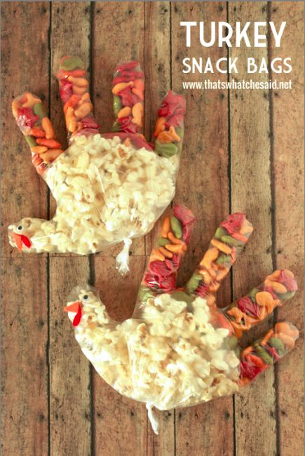 Turkey Thanksgiving Snack Bags Kids -Could use for Grandparents Day/Thanksgiving