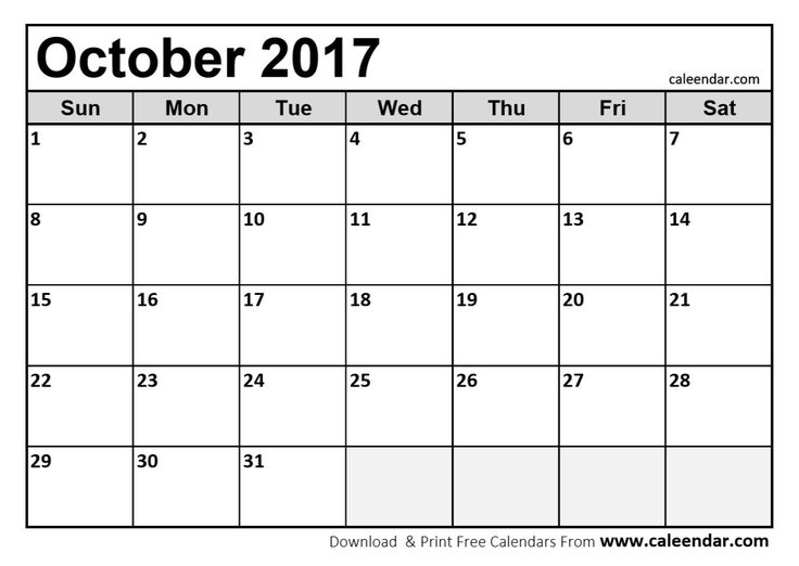 21 best October 2017 Calendar images on Pinterest Calendar - blank calendar pdf