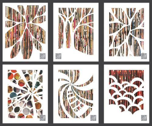 Aikakauslehdistä raidallinen pohja, jonka päälle valkoisesta kartongista sabloonamainen kuva.