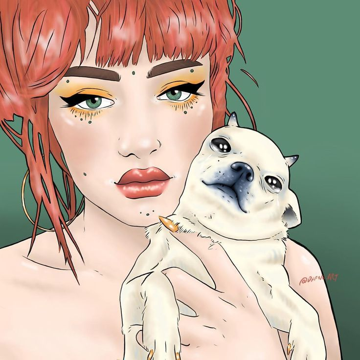 eve frsr dog art drawing draw hair pink red devil cry beauty