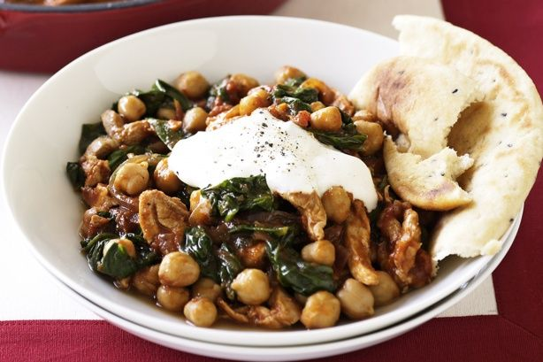 Our+Indian+chicken+curry+with+chickpeas+and+spinach+is+a+no-fuss+meal,+cooked+in+one+pan.