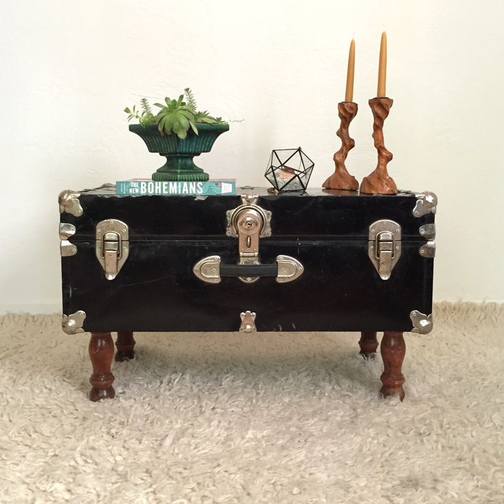 Upcycled Trunk Table, Black Steamer Trunk / Coffee Table, Furniture by GoldDustGoods on Etsy https://www.etsy.com/listing/250942322/upcycled-trunk-table-black-steamer-trunk