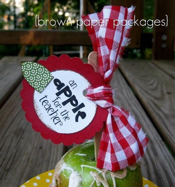 teacher: Teacher Gifts, Teacher Appreciation, Gifts Ideas, Gift Ideas, Schools Gifts, Diy Gifts, Hands Made Gifts, Brown Paper Packaging, Caramel Apples