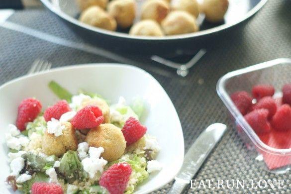 falafel salade met frambozen