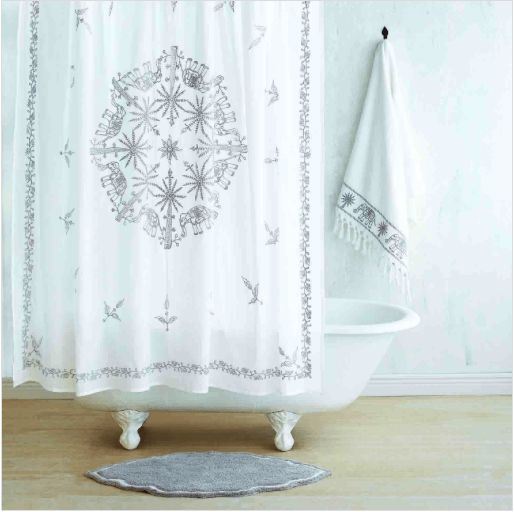 Yaji Gray Shower Curtain by John Robshaw  #westportct #bedding #luxurylinens #06880 #interiors #bedlinens #towels #figlinenswestport #Figlinensandhome #homedecor