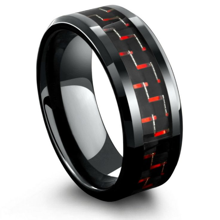 8mm Mens Black Tungsten Wedding Band With Black & Red Carbon Fiber Inlay