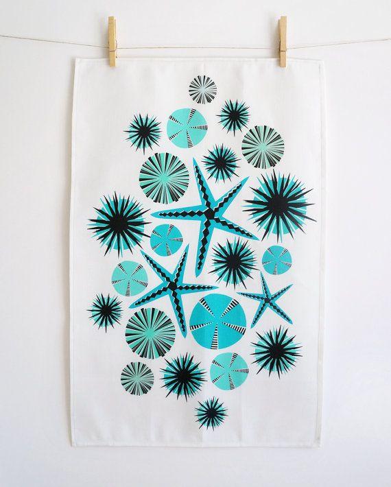 Turquoise  / teal  starfish tea towel  •  geometric design  •  linen-cotton blend