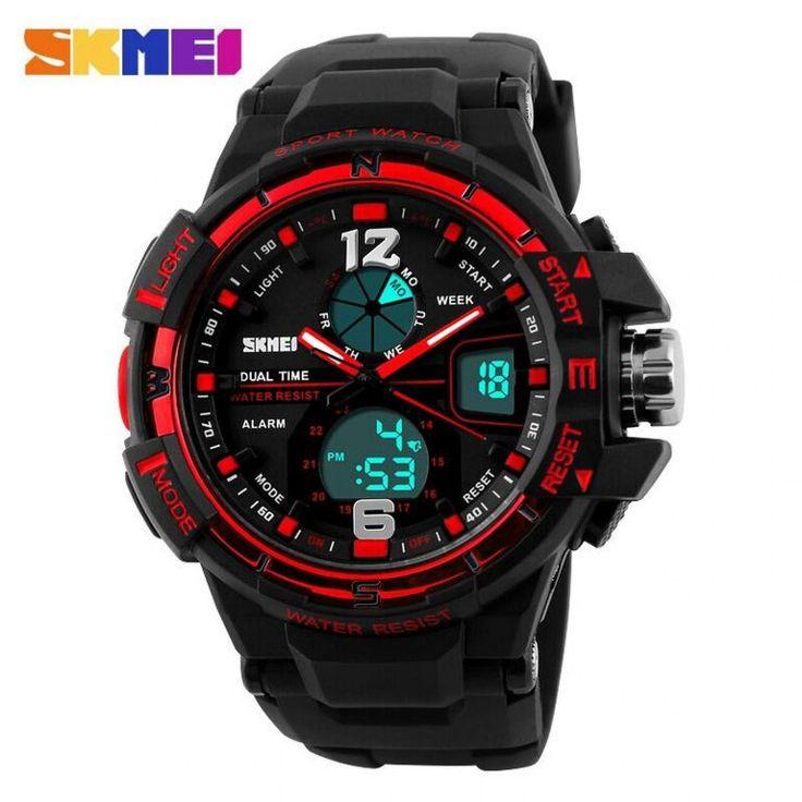 Jam Tangan Pria SKMEI Dual Time Men Sport Analog Original AD1148 Merah