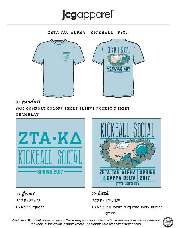 JCG Apparel : Custom Printed Apparel : Zeta Tau Alpha Kickball T-Shirt #zetataualpha #zeta #zta #kickball #social #handdrawn #homerun