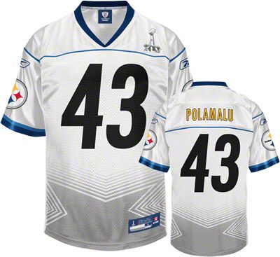 153678d05 ... Reebok Pittsburgh Steelers Troy Polamalu 43 White Authentic Super Bowl  Xlv Jersey Sale ...