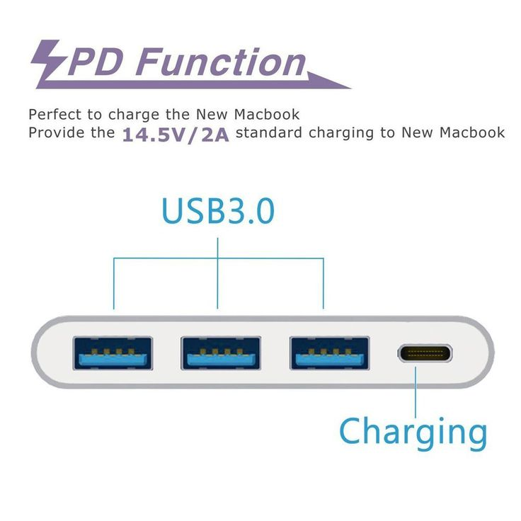 Amazon.com: FEMORO Support Macbook 2016 Charging and Data Transfer USB-C to 3-Port USB 3.0 Hub Adapter Converter ,Type-c USB3.1 Charging Hub for New Macbook,Chromebook Pixel,Nokia N1, Nexus 6p(Silver Aluminum): Computers & Accessories
